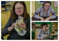 W pracowni tkackiej dziewczęta haftują...